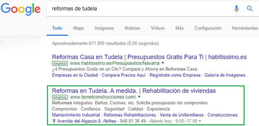 Resultado busqueda anuncios Google Adwords